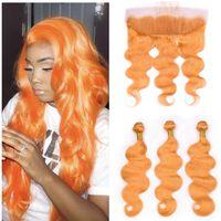 Feixes de Cabelo Humano laranja Com Fechamento Frontal Virgem Malaio Extensões de Cabelo Virgem Pacote de Cabelo Laranja 3 Pcs Lida Com Laço Frontal