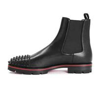Hot Sale-Moda Luxo Superior Homens botas vermelhas Botas inferior tornozelo saltos baixos Suede couro genuíno com Rebites Melon Spikes Plano Curto Cavaleiro Bo