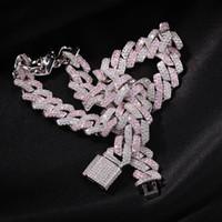 Luxury Designer Ожерелье Мужское Заявление Алмазные Cuban Link Цепочка 13 мм Розовый Ледовый Удаленный Хип-Хоп Блен Шифер Ювелирные Изделия Рэрпр Мода Аксессуары