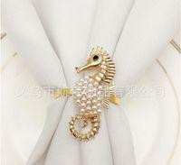 Seahorse Perle Serviette Schnalle mit Bohrer Tier Serviettenring Servietten Ringe Tuch Hotel Hochzeit Heimring Serviettenringe