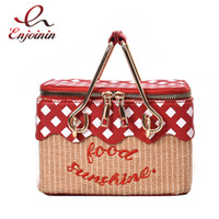 Trendy Straw Lunch Basket Design Embroidery Letter Women Cas...