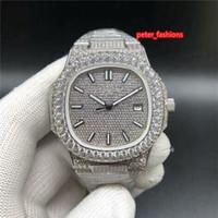 실버 다이아몬드 남자 시계 2 돌 다이아몬드 베젤 패션 핫 판매 손목 시계 최고 부티크 자동 기계식 시계