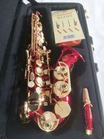 Högkvalitativ Suzuki Böjd Sopran Saxofon B Flat Music Instrument Saxofon Spelar Professionellt Guld Key Saxofon