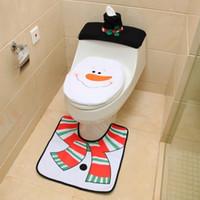 Новогодние украшения для дома Санта-Клаус стульчак Обложки Установить ванную продукт Нового год Navidad украшения