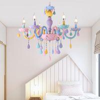 2019 Цветная Хрустальная Люстра Macaron Цвет Droplight Детская Спальня Лампа Творческий Фантазия Свет витража Блеск