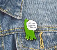 Pin smalto dinosauro solitario Cartoon spilla animale distintivo spilla verde pinna per jeans denim borsa camicia gioielli divertenti regalo per amico T450