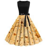 013565f5896e6 Yaz Elbise 3D Baskı Meksika Gözleme Baskılı Kadınlar Vintage Kolsuz Yensiz  Burrito Tortilla Baskı Parti Elbise