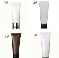 100 ml beyaz Amber yumuşak tüp / siyah pp kap / krem losyon şişe / plastik PE hortumlar / kozmetik ambalaj boş şişeler