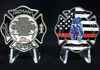 """Firefighters Collectible Challenge Coin """"Thin Red Line"""" Fireman's Prayer Coin FD.Wholesales 100pcs / lot DHL gratis verzending"""