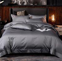 Grey cotone egiziano copripiumino king size e mezzo Doppio 4pcs hotel Solido Colore Lenzuolo di lino morbidezza serica Insieme dell'assestamento Home Textile