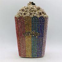 Die neueste Design Popcorn-Kupplungs-Handbrauthochzeitsfest-Geldbeutel-Kristall Hochzeit Geldbeutel und Handtasche Exquisite Kette Umhängetasche