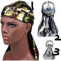Marken-Designer Durag Männer Bandana Kopfbedeckung Stirnband Headwrap Piraten-Hut-Kappe der Männer Radfahrer-Caps Hüte Helle Silky Turban-Hut
