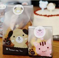 Sacchetti del pane di plastica 7 * 4 * 15cm Open-top Cute Cat Animal Bakery Food Packaging Cookie Borse Food Storage OPP 1700pcs