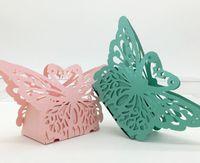 Laser-Schnitt-Höhle-Schmetterlings-Süßigkeit-Kästen Hochzeitsfestbevorzugung Boxen Babyparty-Geschenke und Schokolade Taschen Kuchen-Kästen