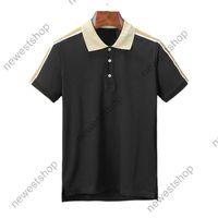 2020 nuovi vestiti dal design di lusso per l'estate camicia collo T mens polo ricamo classico a strisce lettera T-shirt maniche casuale gira-down