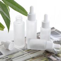 15ml 30ml Vacío clara helada vidrio con gotero botella de loción con el casquillo blanco envase cosmético WB2014