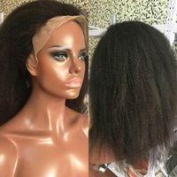 150٪ الخشنة ياكي بيرو ريمي غلويليس الشعر الإنسان الدانتيل الجبهة الباروكات للنساء السود كامل 13x4 إغلاق غريب مستقيم الباروكة الطبيعية