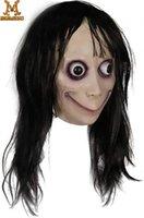 Molezu Halloween Momo Жуткая Латексная Маска Страшно С Длинными Волосами Хэллоуин Пасхальный Костюм Party Mask For Party T200326