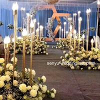 La nueva boda del estilo del metal del oro del color lightting Soporte de flor Columna de Acuerdo de la mesa central de la boda decoración floral decoración senyu0145