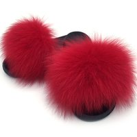 2019Real Slipper Luxury Real Fox Fur Beach Sandals Fluffy Co...