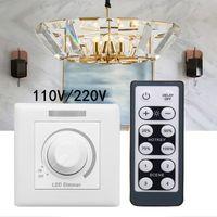 الصمام باهتة 110V / 220V الجدار التبديل باهتة مع 12 مفاتيح الأشعة تحت الحمراء للتحكم عن بعد لمبة ضوء مصباح عكس الضوء
