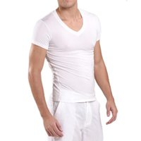 Homens Verão Modal profunda V Neck manga curta camiseta Magro Ultrafino invisível Undershirt Ginásio de Esportes t-shirt Roupa interior