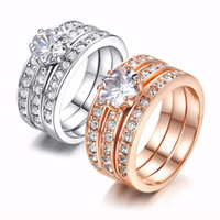 Pretty Engagement Rings for Wedding Cubic Zirconia Three Rounds Sets Engagement CZ Stone Ring Set Fashion Jewelry Beautifully Wedding Rings