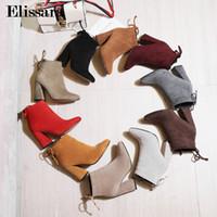 Hot Sale-mujeres altos cargadores del tobillo de los zapatos para los Wonan Excelente Calidad atractivo Flock punta estrecha Ahkle Botas Tamaño de los zapatos 34-43 Elissara