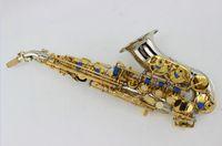 MARGEWATE Kleine gebogen nek vernikkeld lichaam gouden lak sleutel soprano saxofoon b platte messing sax instrumenten met mondstuk
