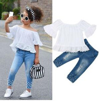 Toddler Kids Vêtements de bébé pour les filles Ensembles Tops Blanc T-shirt Denim Long Pantalon Jeans Outfits Set
