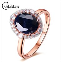 Elegant sapphire ring 10*12mm natural dark blue sapphire fro...
