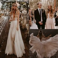 Country Style Lace Boho Wedding Dresses Turkey 2019 Soft Tul...