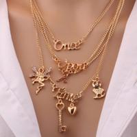 Collar de estilo corto de varias capas de joyería de moda de las mujeres una vez a la vez clave ángulo búho letras colgantes collar S367