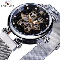 Forsining Top Brand di lusso Diamante Donne orologi meccanici automatici Orologi Femminili impermeabile 2019 Fashion Design orologio Mesh