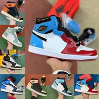 Скидка Высокий 1 OG GS X Мужчины Баскетбольные Обувь Обсидиан Малиновый оттенок Бесстрашные дешевые ASG UNC Retroes 1S Чикаго Женщины белые серые спортивные