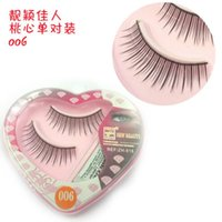 NEW 1 Pair Peach Heart False Eyelashes Korea Natural Long Mi...