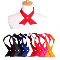 9 ألوان عالية الجودة أزياء للجنسين الصليب التعادل bowknot شخصية مدرسة القوس التعادل الصليب مشبك