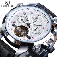 Forsining Beyaz Tourbillon Mekanik Erkekler Saatler Otomatik Takvim İskelet Gerçek Deri Kemerler El saatler Relogio Masculino