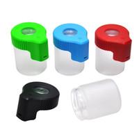 플라스틱 유리 라이트 업 LED 공기 단단한 증거 스토리지 돋보기 항아리보기 컨테이너 155ML 다중 사용 플라스틱 용기 알약 상자 병 케이스