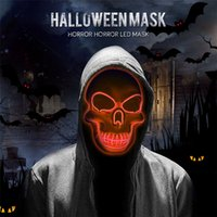 LED de Halloween máscara de la máscara de la máscara horripilante Light Up Cráneo de la muerte Esqueleto asustadizo cosplay Led para el Festival Party 8 colores JK1909