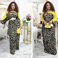 Повседневные платья Африканские для женщин 2021 Дашики Мода Леопардовое Летнее Платье Шифон Пэчворк Широкие Руки Maxi Лонг Вестидос