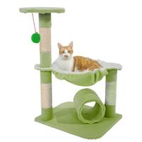 28 дюймов кошка дерево башня кондоминиум мебель Когтеточка домашнее животное котенок играть игрушки дом восхождение центр активности ягненок зеленый Бесплатная доставка