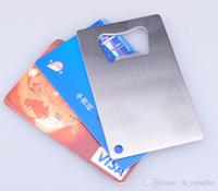 FEDEX / DHL 무료 100PCS 뜨거운 판매 새로운 지갑 크기 스테인레스 스틸 신용 카드 병따개 비즈니스 카드 맥주 오프너