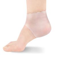 2pcs / paire nouveau gel de silicone hydratant talon chaussettes antidérapant entretien pied fissuré soins de la peau protecteurs soins des pieds