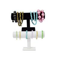 1 Pc Drop Shipping Jóias exibição pulseira bar pulseira T bar jóias display organizador stand titular Embalagem Branco PU Novo