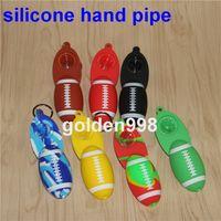 Portable Main Cuillère Pipe En Silicone Shisha Pipes avec bol En Verre Tabac Fumer De L'eau Pipes Narguilé Bongs pipes Livraison gratuite