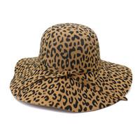 Grote Bravel Leopard Print Felt Dome Hat Wome Fedora Hoeden Fascinators Hoed voor Vrouwen Elegante Floppy Cap Sun Protection Chapeau