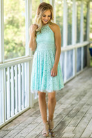 2019 Alta Neck Lace Mint Vestidos de Dama de honra curtos para País Praia Casamentos com Pérolas Com Zíper de Volta Mini Vestido Formal Feito Sob Encomenda