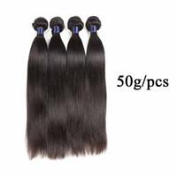 Cabelo virgem brasileira em linha 6 peças 100% Peruano Indiano Remy Cabelo Weaves em linha reta 5/6 Bundles Human Hair WeFts 50g / PCs