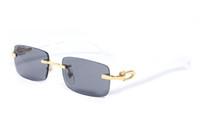 nueva moda de lentes transparentes empollón lectura gafas de aleación de actitud marco de madera de metal de plata marco oro sin montura de búfalo para mujeres de los hombres gafas de sol